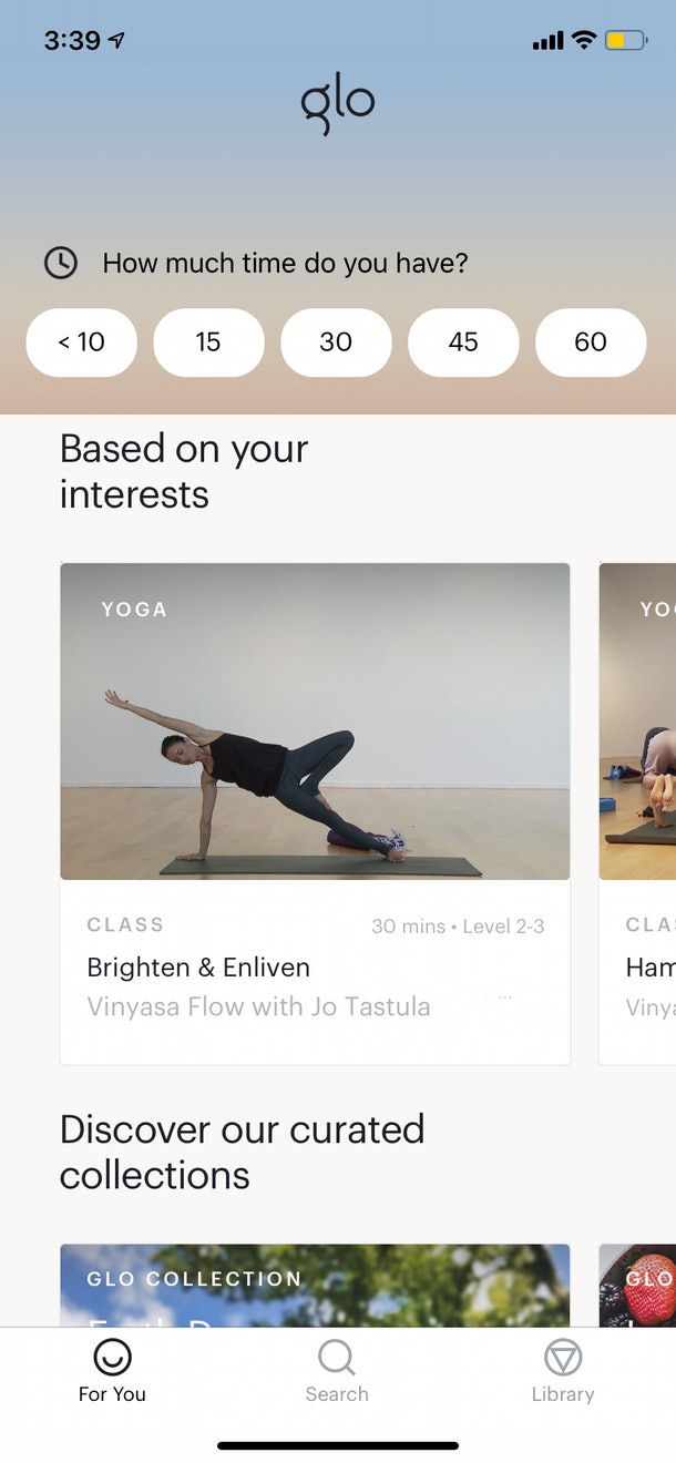 The Glo - Yoga and Meditation app features tons of unique classes of varying lengths.