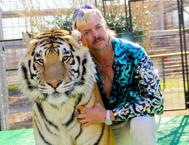 Joe Exotic and a tiger from 'Tiger King'