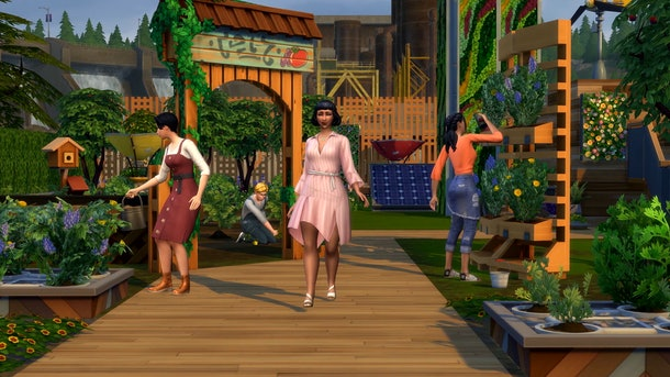 A screenshot of 'The Sims 4 Eco Lifestyle' shows Sims participating in a community garden and walking down a wood pathway.