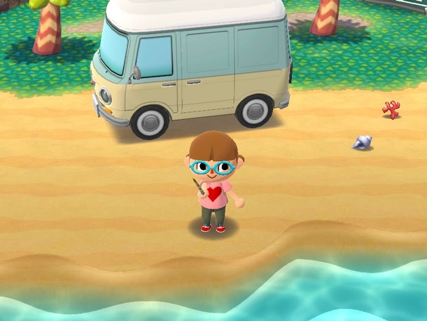 A screenshot of 'Animal Crossing: Pocket Camp' shows a brown-haired girl fishing at the beach.