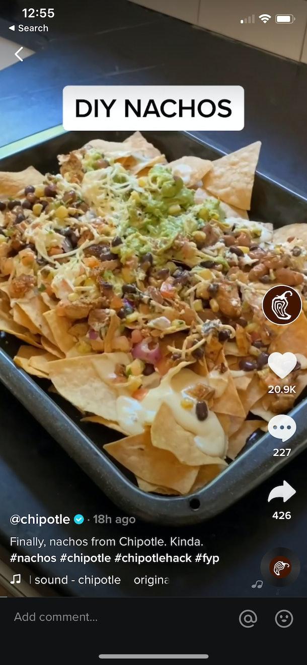 Chipotle's new TikTok Hack Menu includes a nachos recipe.