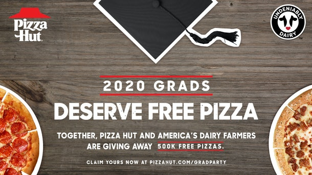 Pizza Hut's free pizza deal for 2020 graduates is offering 500,000 pies for free.