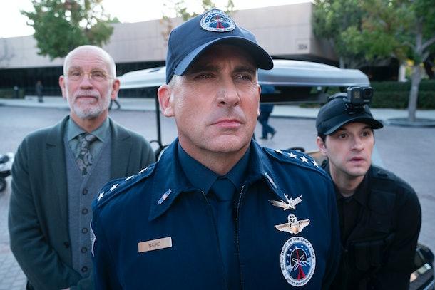 John Malkovich, Steve Carrell, and Ben Schwartz in 'Space Force'