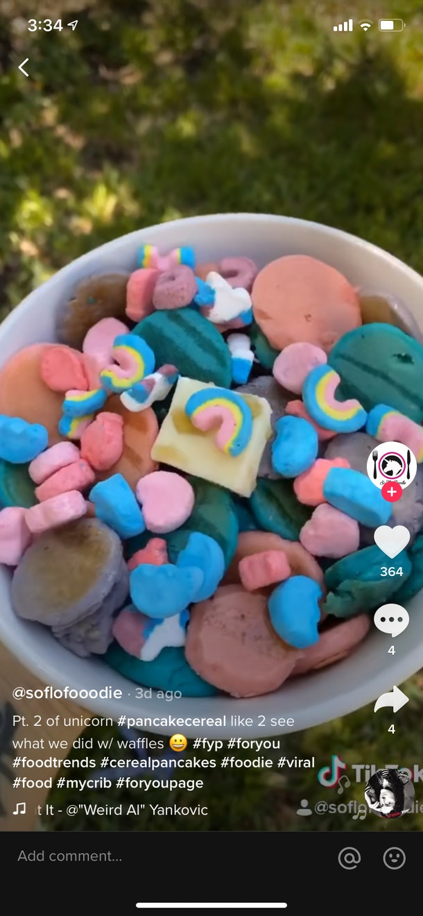 A bowl of unicorn-inspired pancake cereal is so colorful on TikTok.