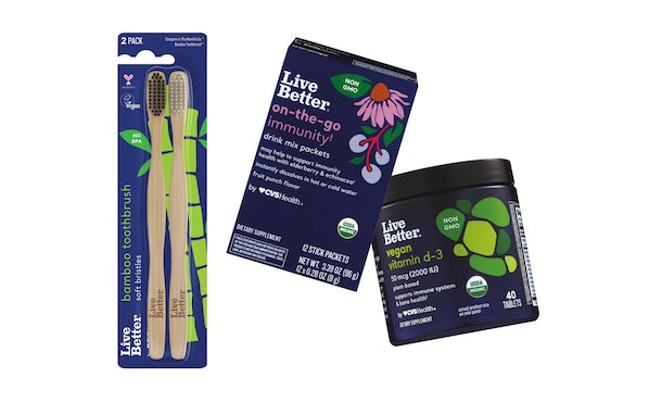 The Live Better by CVS Health product line includes bamboo toothbrushes, vegan vitamin D-3 tablets, and on-the-go immunity drink mix packets.