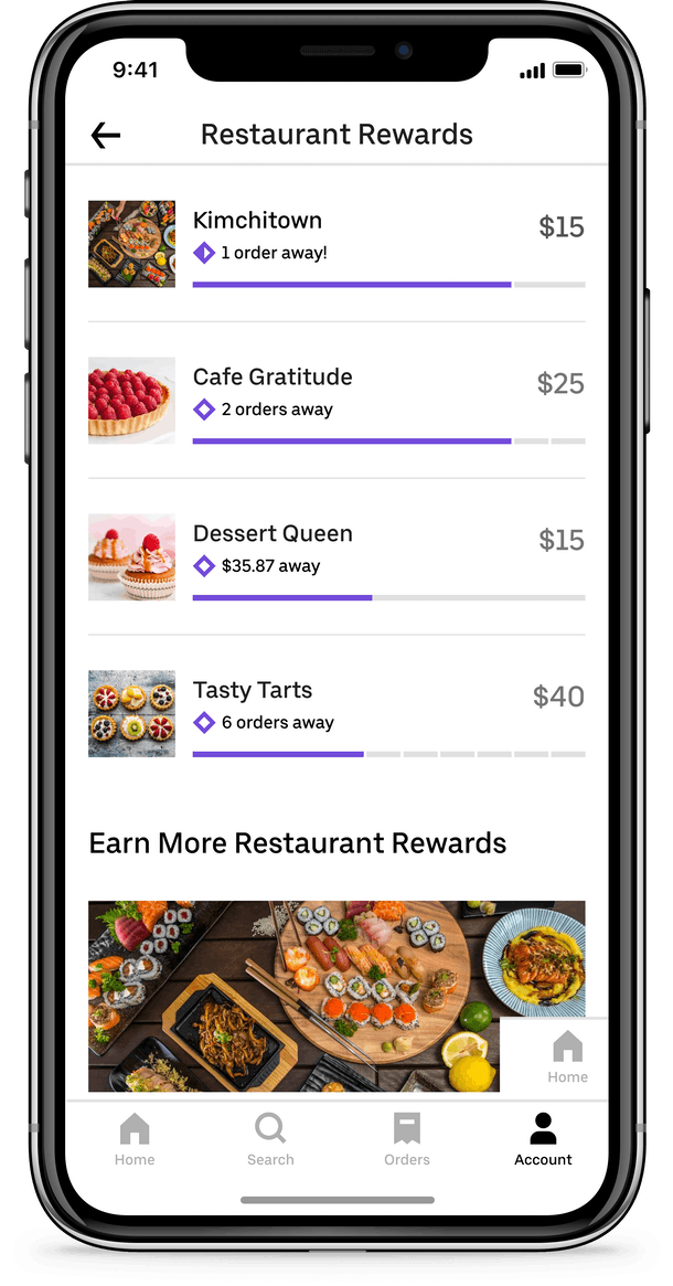 You can see your rewards progress for all restaurants you order from in the app.