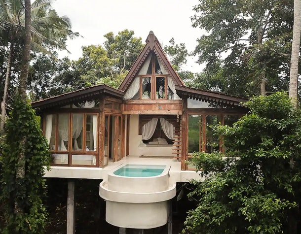 A home on stilts situated in the jungle has a pool and lots of windows.