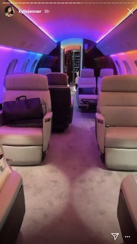 Kylie Jenner shows off her private jet.