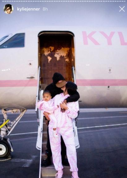 Kylie Jenner kisses Travis Scott.