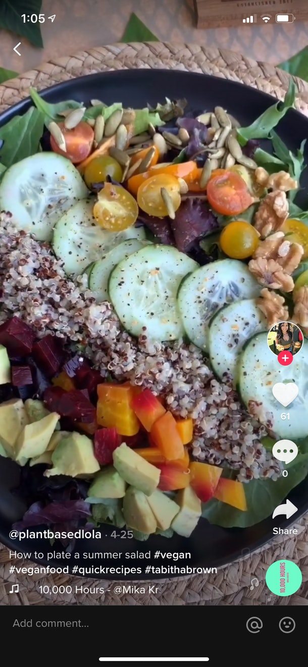 A summer salad on TikTok has its ingredients perfectly spread out in a black bowl.