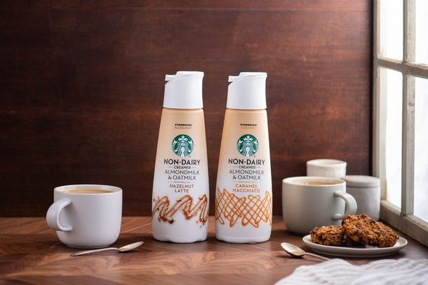 Starbucks' new non-dairy creamers include caramel and hazelnut flavors