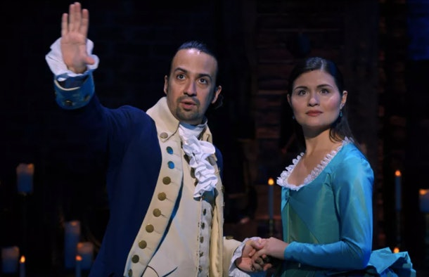 Lin-Manuel Miranda as Alexander Hamilton and Phillipa Soo as Eliza Schuyler in Hamilton