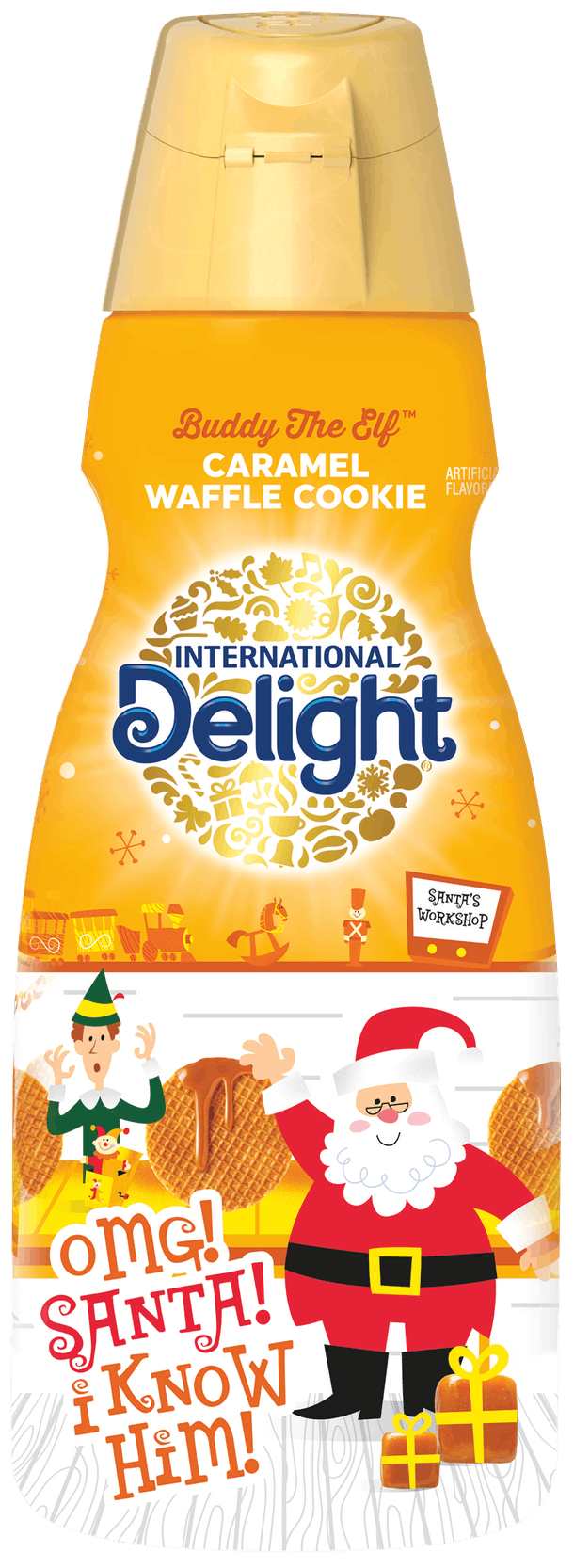 International Delight's 'Elf'-themed holiday 2020 coffee creamers feature a new caramel waffle cookie flavor.