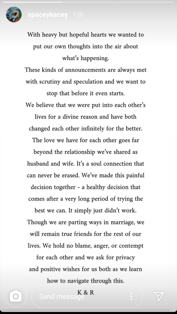 Kacy Musgraves and Ruston Kelly's divorce statement is sad, but positive.