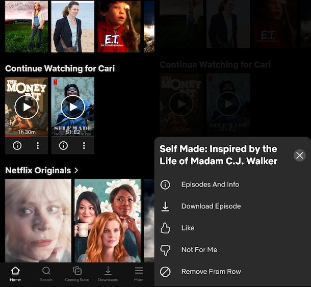 """Netflix's new """"Remove From Row"""" feature lets users streamline their """"Continue Watching"""" list."""