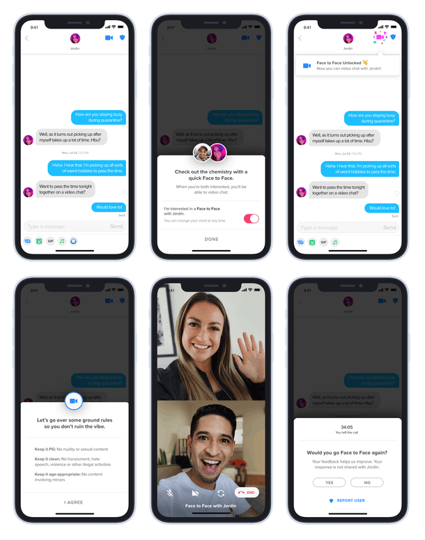 Tinder's Face to Face video chat feature requires both users to opt in first.
