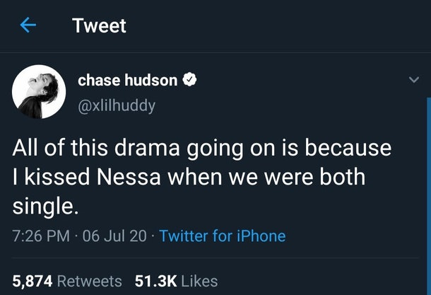 Chase Hudson's tweet about kissing Nessa Barrett