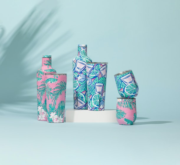 The Corkcicle x Vineyard Vines limited edition collection includes tropical and summer printed tumblers and wine cups.