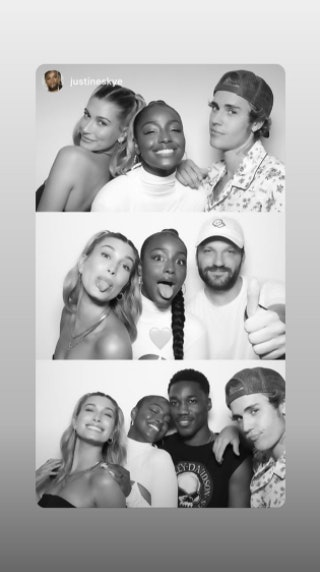 Justine Skye attends a party at Justin Bieber's house.