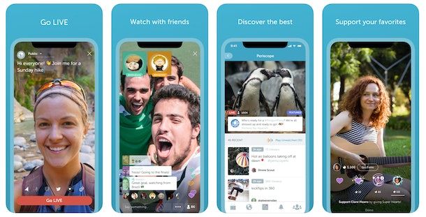 Screenshots of the Periscope app show friends going live, or what it looks like to tune in and leave a heart or comment.