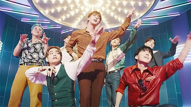 """An idea for BTS 2020 Halloween costumes is their retro """"Dynamite"""" outfits."""