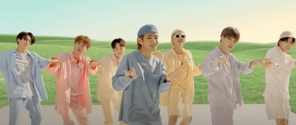 """An idea for BTS 2020 Halloween costumes is their pastel boyband outfits, as seen in the group's """"Dynamite"""" music video."""