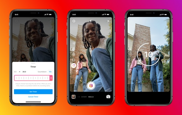 Instagram Reels' new 30-second time limit makes it possible to create longer videos.