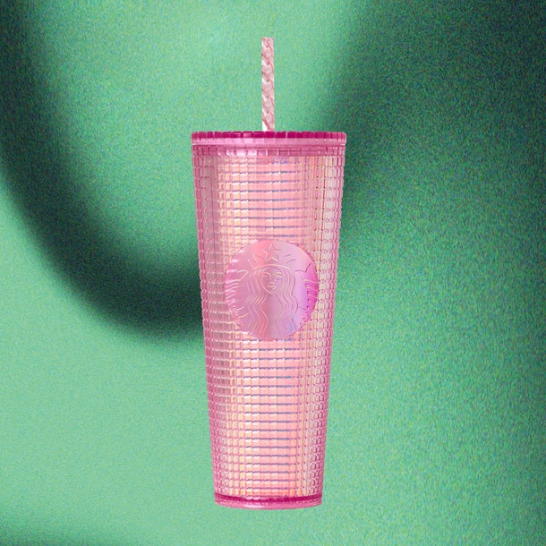 Starbucks' Holiday 2020 tumblers and cold cups include a blingy Pink Grid Cold Cup.