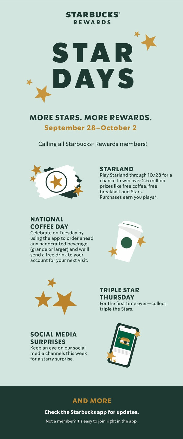 Starbucks' National Coffee Day 2020 deals include a free sip reward.