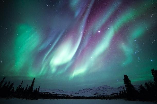 The Aurora Borealis, Orion and Jupiter over Denali National Park in Alaska