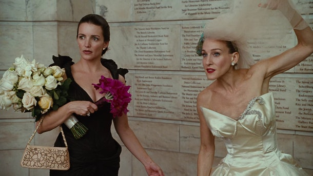 "Charlotte and Carrie at Carrie's wedding in the ""Sex and the City"" movie."