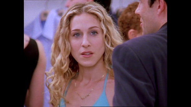 "Carrie Bradshaw in season two episode one of ""Sex and the City."""