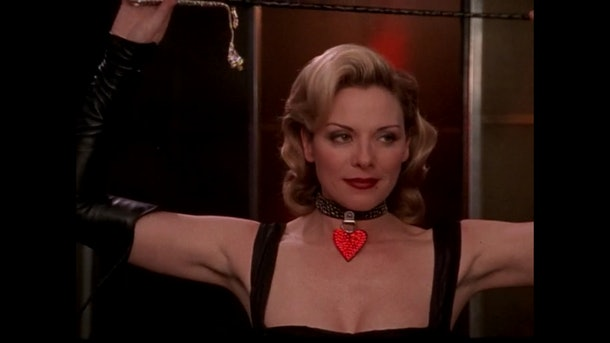 "Samantha Jones, played by Kim Cattrall, in dominatrix wear for ""Sex and the City"" season two episode 12."
