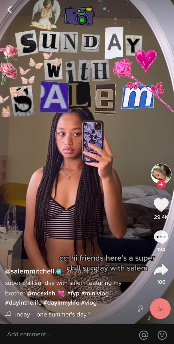 A TikTok user films a catchy introduction with artsy lettering for a daily vlog on TikTok.