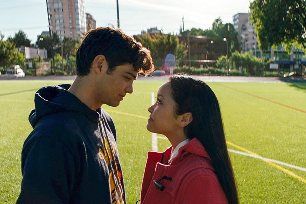Lara Jean and Peter Kavinsky look at each other on a lacrosse field in 'To All The Boys I've Loved Before.'
