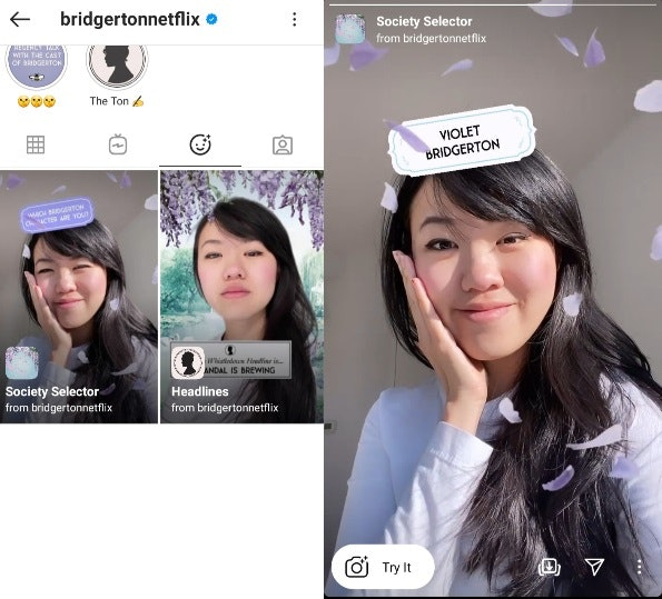 "These ""Which 'Bridgerton' Are You"" Instagram AR filters will keep the show alive."