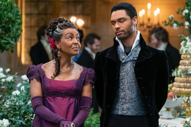 """Lady Danbury and Duke Simon share a look in this clip from """"Bridgerton."""""""