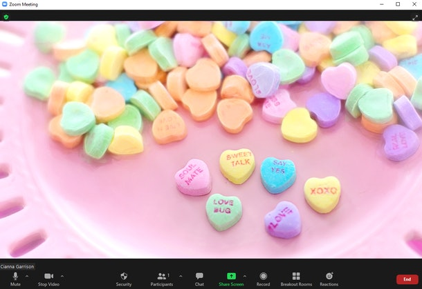 These Valentine's Day Zoom backgrounds are so festive.