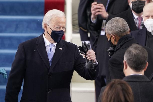 Joe Biden and Barack Obama's fist bump at the 2021 Inauguration