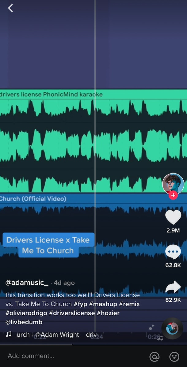 "A TikTok user mashes ""Driver's License"" by Olivia Rodrigo with ""Take Me To Church"" by Hozier."
