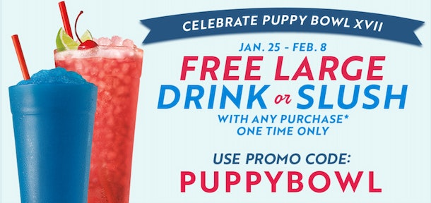 Sonic's Puppy Bowl 2021 deal features a free drink.