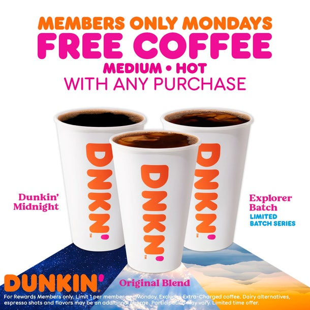 Dunkin's February 2021 Free Coffee Monday deal is a total pick-me-up.