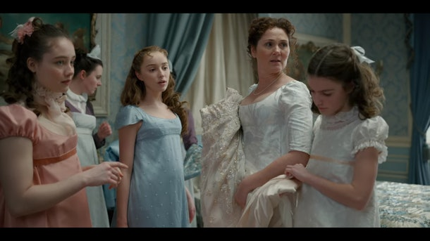 "The Bridgerton women in their home in episode one of ""Bridgerton."""