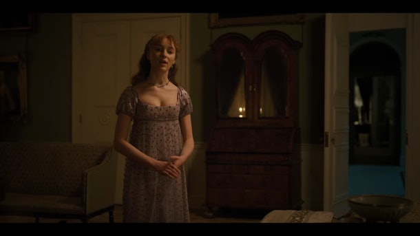 "Daphne Bridgerton in a purple, embellished gown in episode seven of ""Bridgerton."""
