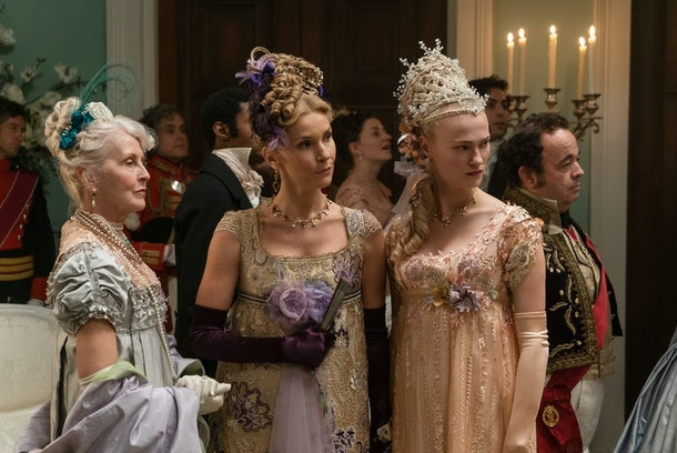 """Lady Cowper and Cressida at a ball in episode three of """"Bridgerton."""""""