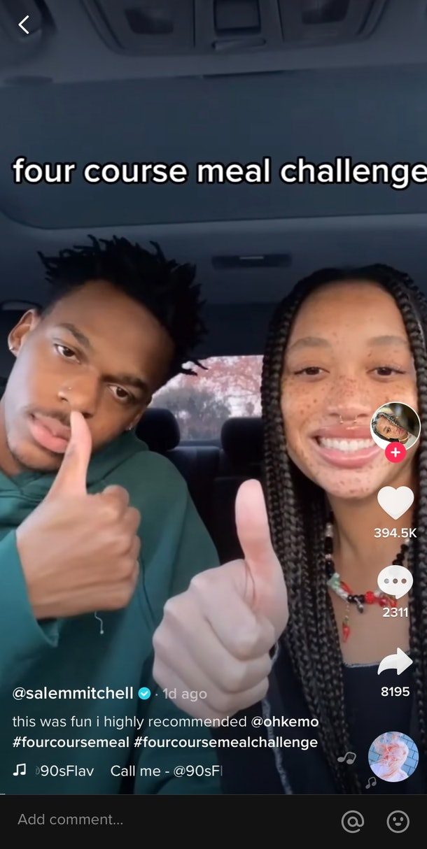 A young couple on TikTok plays the four-course meal challenge while hanging out in their car.