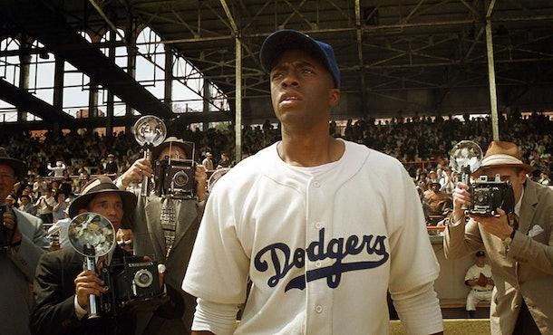 Chadwick Boseman played Jackie Robinson in the biopic '42.'