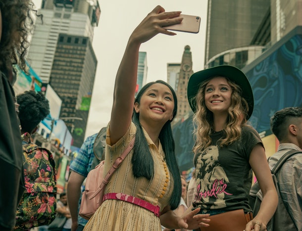 Lana Condor as Lara Jean and Madeleine Arthur as Christine in To All the Boys: Always and Forever.