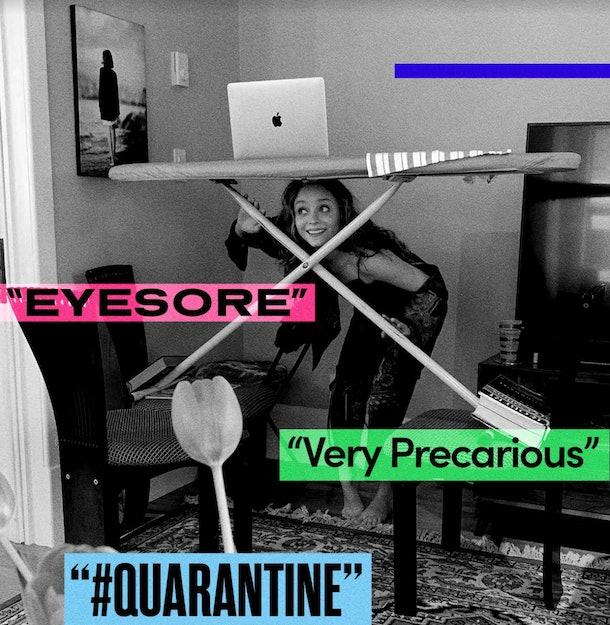 Madeleine Arthur balancing her laptop on an ironing board during quarantine on Instagram.