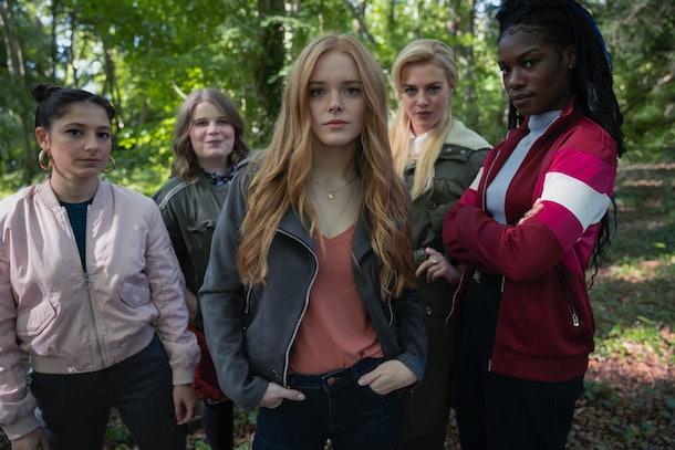 Elisha Applebaum as Musa, Eliot Salt as Terra, Abigail Cowen as Bloom, Hannah van der Westhuysen as Stella, Precious Mustapha as Aisha in Fate: The Winx Club Saga